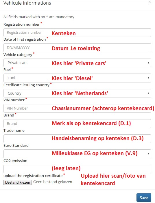 Vehicle informations - met uitleg